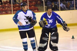 Gary Stefan (white) with original Jets goalie Charlie Colon
